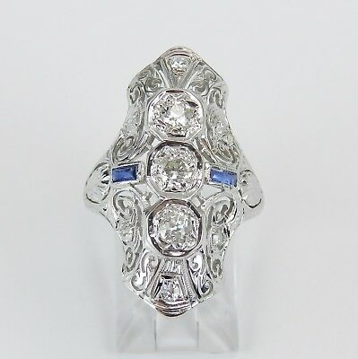 Antique Art Deco Diamond and Sapphire Ring 18K White Gold Size 5.5 Circa 1920's