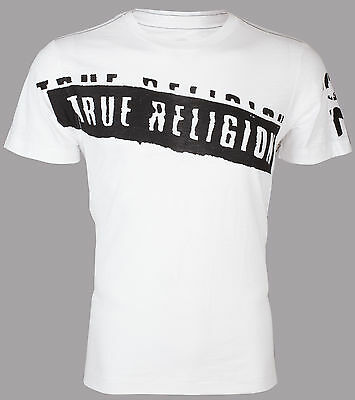 TRUE RELIGION Mens T-Shirt STENCEL GRAPHIC White with Black Print $69 Jeans NWT