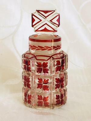 Antique Ruby Flashed Perfume Scent Bottle With Cruciform Stopper C1900