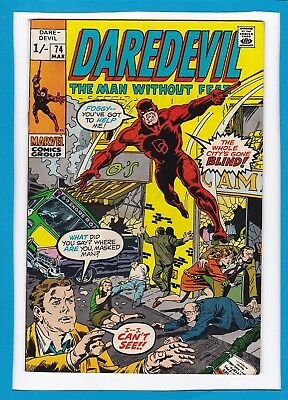 """Daredevil #74_March 1971_Very Fine+_""""the Whole City's Gone Blind""""_Bronze Age Uk!"""