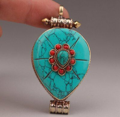 Tibetan Silver Turquoise Red Agate Necklace Pendant Old Tibetan Sutras Box