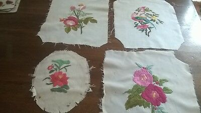 4X Small Pieces Of  Vintage Hand Embroidery Flowes Design