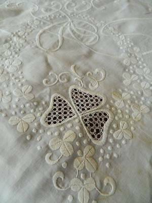 "Antique white Irish linen bedspread or tablecloth hand embroidery - 96"" x 74"""