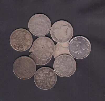 1858 - 1901 Canada 10 Cents Silver Coins Lot Of 10