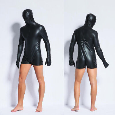 Mens Patent Leather Masked Funny Bodysuit Catsuit Underwear Costumes Fancy Dress