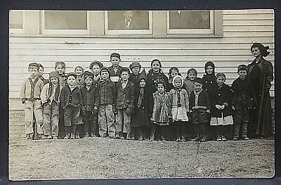 c1910 real photo postcard....ARISPE, IOWA SCHOOL HOUSE & CLASS...@ 110 years ago