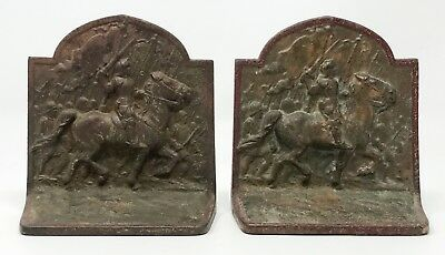 Pair Vintage Antique Cast Iron Knight on Horse Bookends SCP