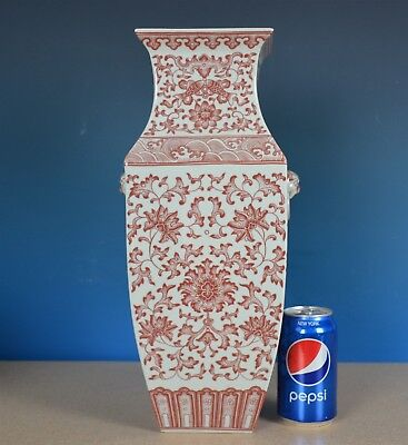 Magnificent Antique Chinese Underglazed Red Porcelain Vase Marked Qianlong A8399