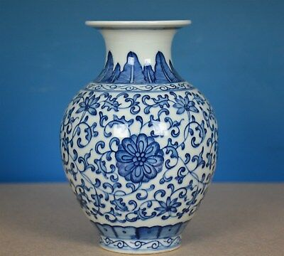 Fine Antique Chinese Blue And White Porcelain Vase Marked Yongzheng