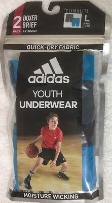 Adidas Youth  2-Boy's Climalite Boxer Briefs  Large 12-14  Gray / Blue - 1819