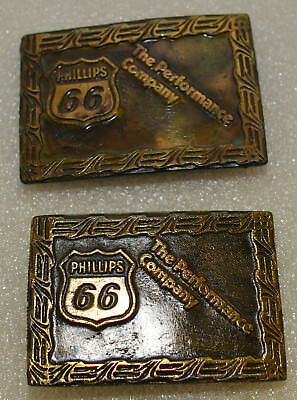 Phillips 66 The Performance Company Pair of Vintage 1970's Belt Buckles