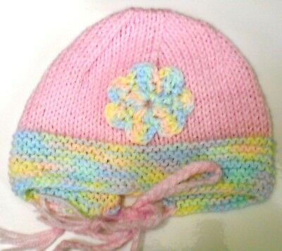 BONNET (Baby) - PINK & PASTELS & FLOWER ~ 0 TO 5 months (NEW) Hand Knitted
