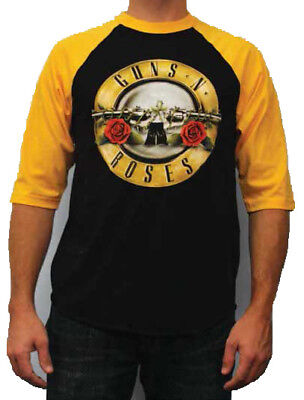 GUNS N ROSES - Raglan 3/4 Sleeve T SHIRT M-L-XL-2XL New Official Bravado Merch