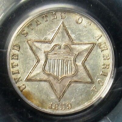 1859 Three Cent Silver Trime - PCGS AU58 - Certified & Graded 3c Piece, Near UNC