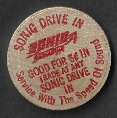 Vintage Wooden Nickel Sonic Drive In Burgers Service With The Speed Of Sound