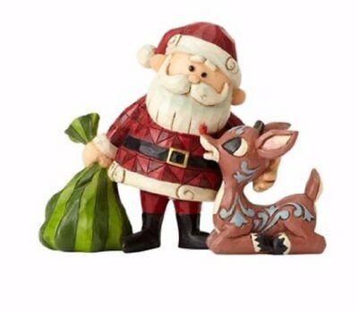 Jim Shore Santa and Rudolph Next To A Bag of Presents Christmas 4058344 New