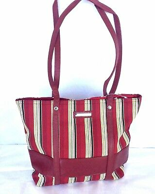 Paprika Red  Stripe Purse Faux Leather Trim Double Handle Tote NEW  in hand
