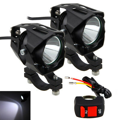 2X T6 LED Motorcycle Driving LED Spot Fog Lights w/ Bracket & on/off Switch Kit
