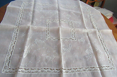 Small Tablecloth Embroidered Butterflies & Lace Fine Organdy
