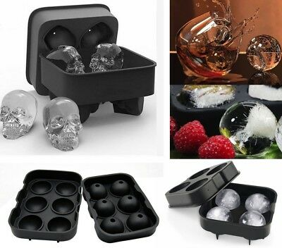 4/6-Ball Whiskey Ice Cube Ball Maker Silicone Mold Sphere Mould Round Tray Bar