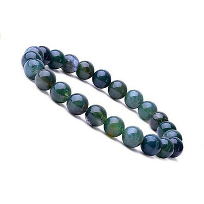 Natural 8mm Gorgeous Aquatic Agate Healing Crystal Stretch Beaded Bracelet
