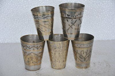 5 Pc Old Brass Handcrafted Engraved Small Glasses , Nice Patina