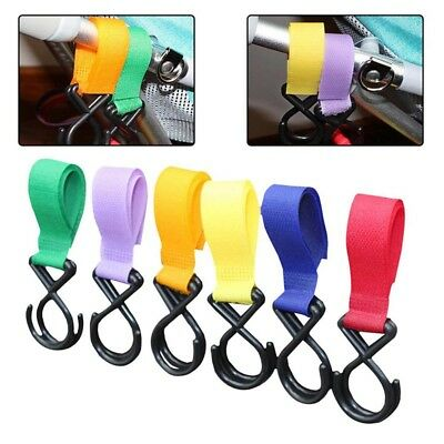 2X Pushchair Pram Buggy Pram Stroller Clip Shopping Bag Hook Clips Hanger Strap