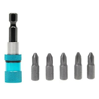 """60mm 1/4"""" Hex Shank Magnetic Drywall Screw Drill Screwdriver Holder +5 Bits Blue"""