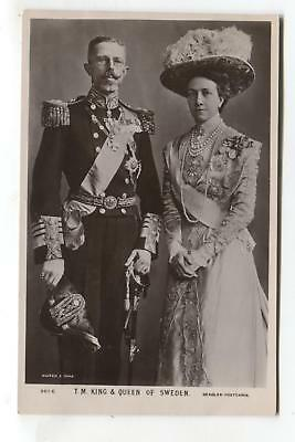 King & Queen of Sweden - old real photo postcard