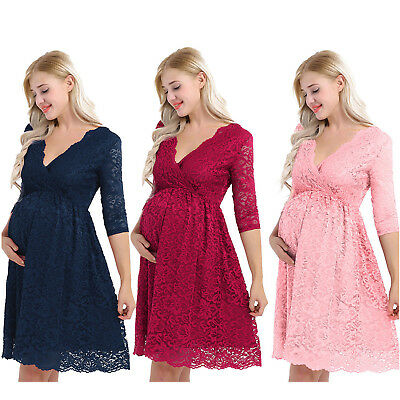 Pregnant Women V Neck Floral Lace Dress Maternity Clothes Gown Photography Props