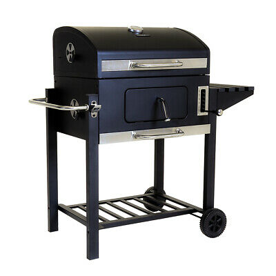 Charles Bentley American Portable Grill Charcoal BBQ in Black Made of Steel