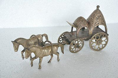 Old Brass Solid Engraved Handcrafted Horse Chariot / Figurine,Rich Patina