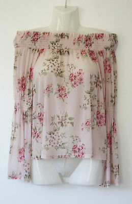 e5f90984fc857 NEW LOOK pink floral sheer mesh gypsy elasticated bardot top - fluted  sleeves 16