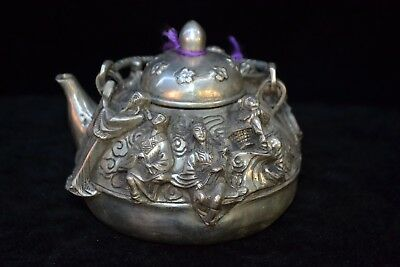 Vintage Collectible Old tibet Silver carve China myth style 8 figure big Teapot