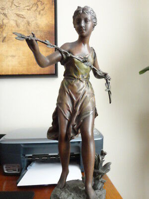 Antique French Spelter Sculpture by Ernest Rancoulet Entitled Printemps (spring)