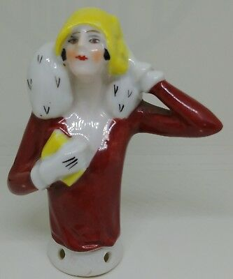 Flapper Lady Half Doll Germany Porcelain #14506 Ermine Fur Cloche Hat Gloves