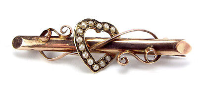 ANTIQUE Rose & Yellow Gold Pin Seed Pearl Set HEART