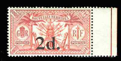 New Hebrides Stamps 1920 Weapons & Idols 2d/40c No Wmk (SG35) MNH Yv 69 cat €675