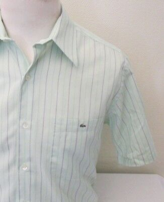 """Lacoste Green Striped Cotton Short Sleeve Shirt - Size 16"""", 41 Cm's"""