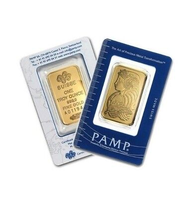 One Pamp Suise 1oz Carded Gold Bar (pmp1)