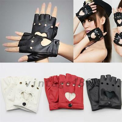 Nice Half Finger PU Leather Gloves Ladys Fingerless Driving Show Pole Dance