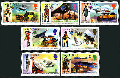 Antigua 334-340,340a S/s,MNH.UPU,cent.Helicopter,Boat,Bus,Concorde,Train,1974