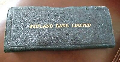 Rare vintage leather MIDLAND BANK statement cover/ cheque book cover mid century