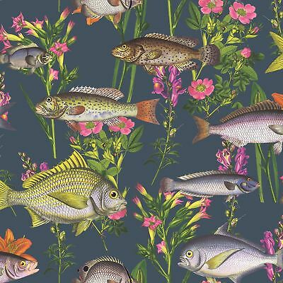 Midnight Blue Lagoon Fish Wallpaper - Holden 50150 New