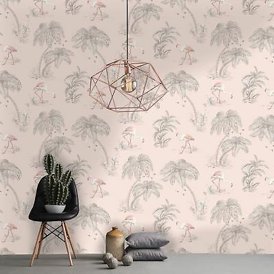 Blush Pink Flamingo Lake Wallpaper - Holden 50155 New Exclusive