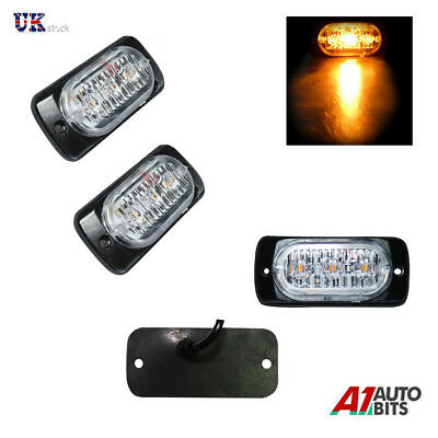 2X 12V 24V LED Orange Amber Light Lamp Recovery Flashing Breakdown Strobe Grill