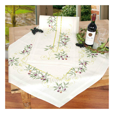 Embroidery Kit Tablecloth Olive Branches Design Stitched on Cotton | 80 x 80cm