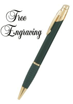 Personalized Ink Pen Brass Black Body Gripper Hand Engraved Free Ball Point