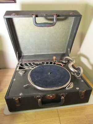 Antique Portable Suitcase Hand Crank Phonograph-Working-Brand Unknown