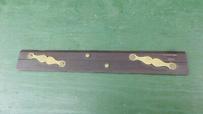 Antique Parallel Rule Ebony Brass Nautical Drafting Wooden Tool REEVES SONS No 4